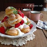 母の日*イチゴのシュークリームデコ♡*シュー皮の写真工程レシピ*