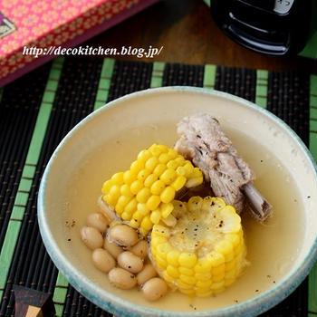 梅雨の養生&疲労回復に◎「スペアリブと大豆ととうもろこしのスープ」←大同電鍋で作りました