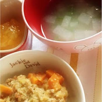 276日目-3 ご飯80g+トマトとアボカドのミートソース50g+大根+いんげん+混合ぶしだし+味噌+果物ピュレ+豆腐