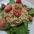 トマトツナの冷やしうどんバジルソース(レシピ)