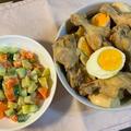 手羽元と卵のさっぱり煮♪ マセドアンサラダ♪
