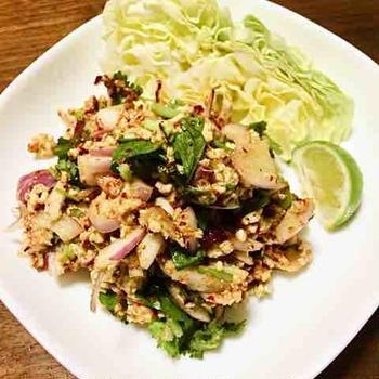 自宅で本格タイ料理・ラープムー・豚ひき肉のタイサラダ