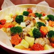 クリスマス仕様☆手羽元と野菜のオーブン焼き(ぎゅうぎゅう焼き風)
