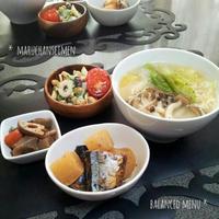 マルちゃん正麺☆とんこつ味と味のしみたほっこり煮物の献立