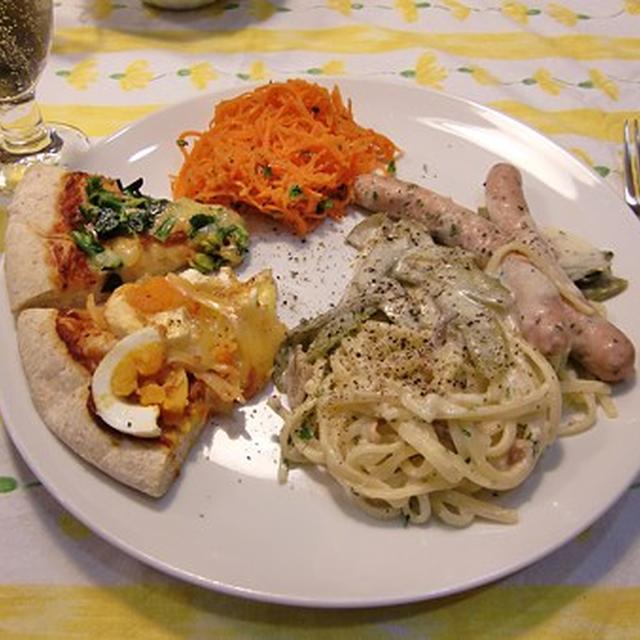 ☆ソーセージのパスタ&ピザ2種&人参のサラダの定食♪ブラウニー付き☆