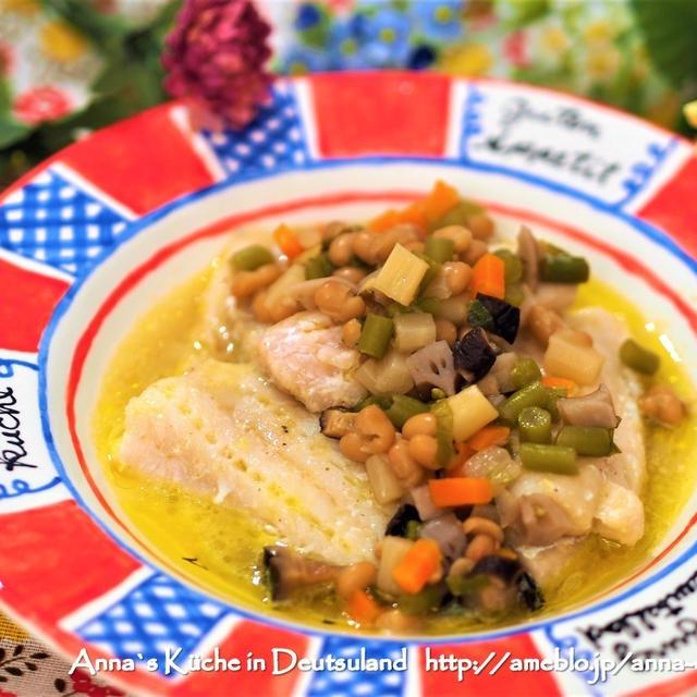 【主菜】6品目栄養満点ソース♡白身魚の野菜あんかけ とハンブルクの素敵カフェで朝カフェ♡