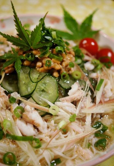 【納豆と焼き鯵の素麺】で食欲モリモリ!! 元気に過ごせる夏になります♪