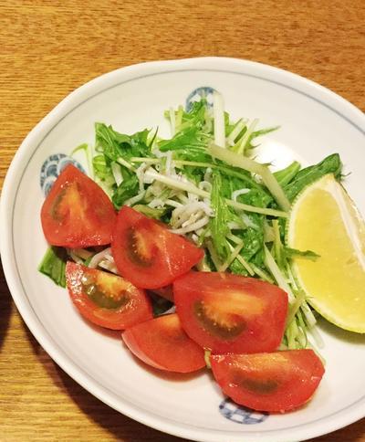 じゃこ水菜サラダ 〜生レモネーディアドレッシング☆