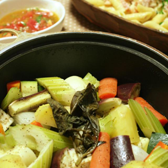 めっちゃ簡単!野菜のオイル蒸しと、簡単カルボナーラ風パスタ。それからエイトレンジャー観たよ~!!