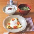 マヨ炒め野菜の目玉焼きで一汁一菜