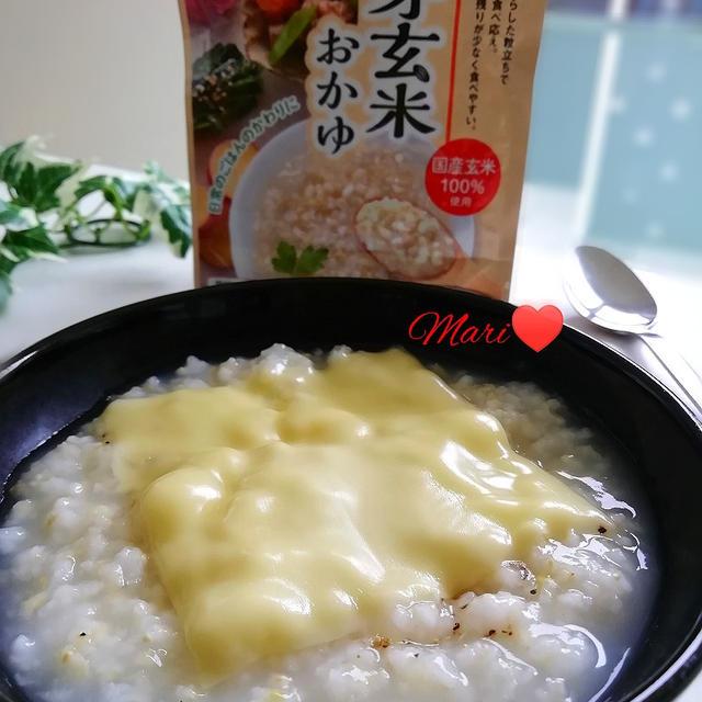 《レシピ有》はくばく 発芽玄米おかゆ チーズのっけのお手軽アレンジレシピ、すみっこ。