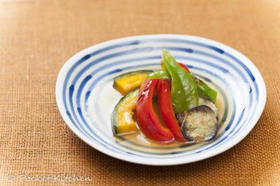 ダシの旨みがしみた野菜の焼きびたし