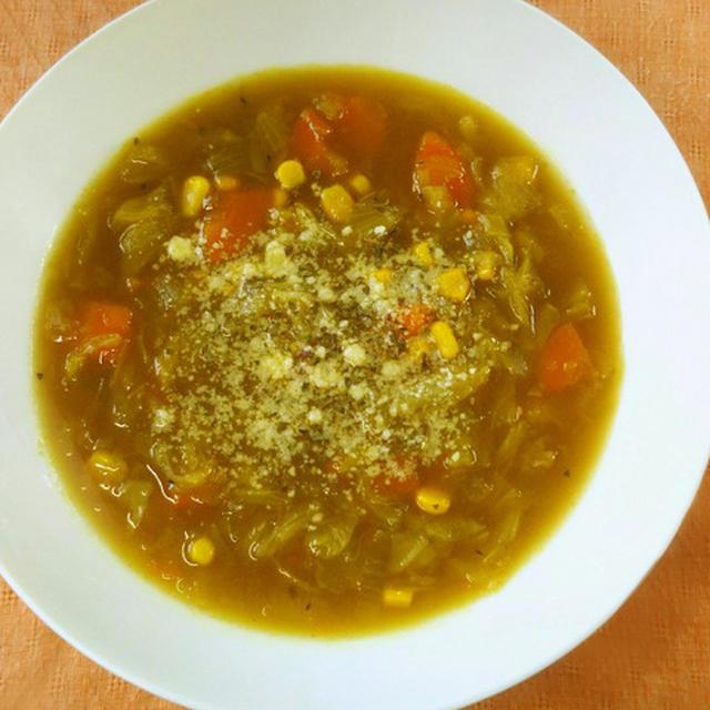 【レシピ】コンソメスープを簡単リメイク♪固形ルーで濃厚カレースープ♪