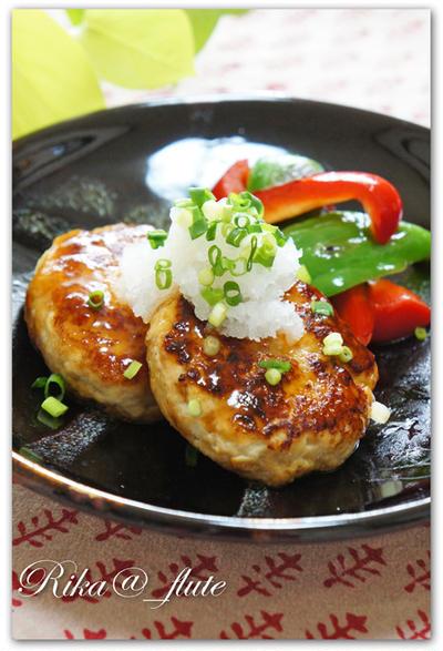 野菜だしでふんわり鶏と豆腐のヘルシー和風ハンバーグ