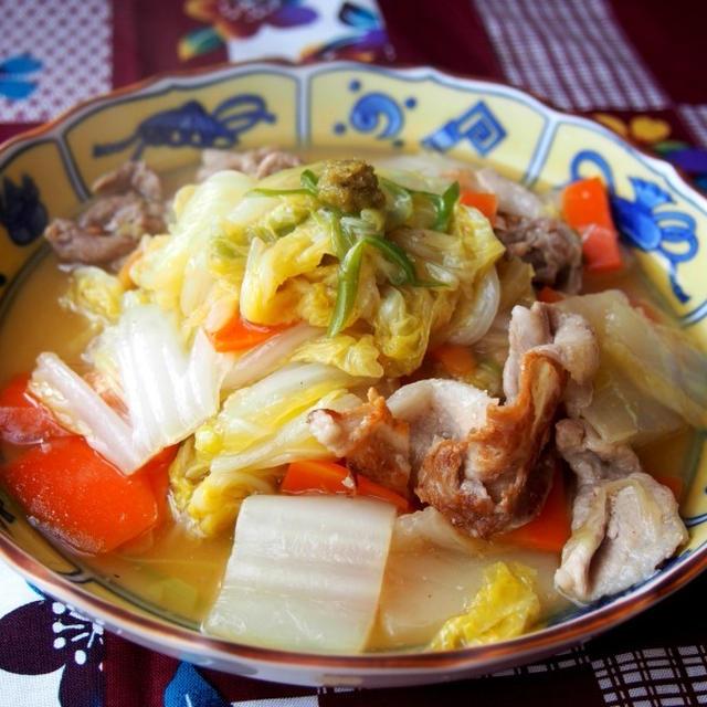 柚子胡椒でいただく白菜と豚肉のとろとろ煮