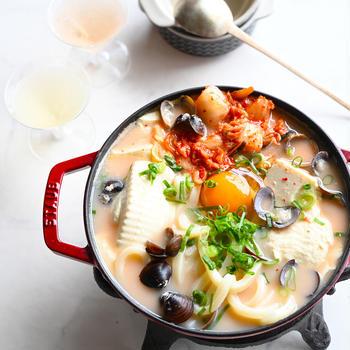 【豆腐のおかず】スンドゥブ・チゲ・うどん💛アーモンドミルクでマイルド旨辛