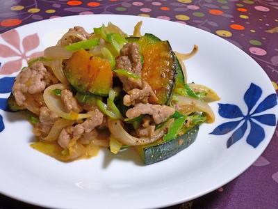 南瓜と豚コマのオイマヨ炒め