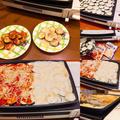 ホットプレートで作る簡単おかず^_^餃子の皮と茄子のピザ