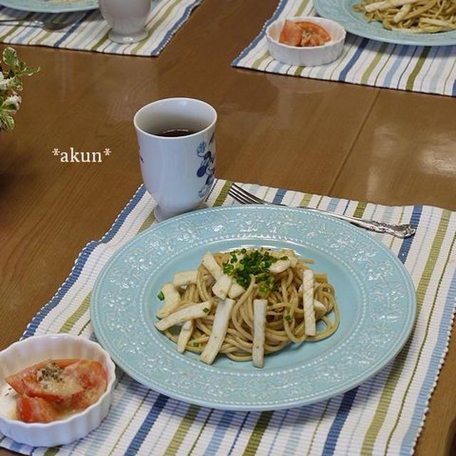 太麺2.2mm!でイカの柚子胡椒スパゲッティのお昼ごはん〜503kcal〜