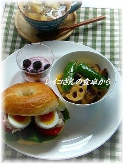 ベーグルのレンチン鶏ハムサンド