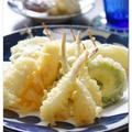 島らっきょの天ぷらとイカの天ぷら