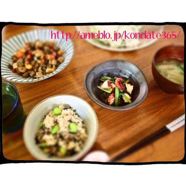 【献立183】鶏軟骨の五目煮込み&ひじきと枝豆の混ぜご飯
