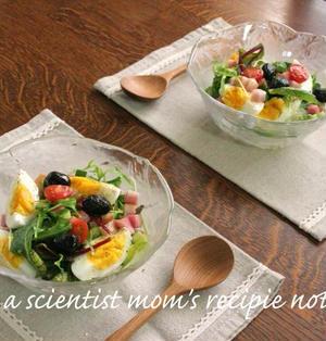 朝はカラフルサラダご飯で