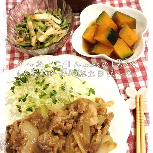 [123円]豚こまと玉ねぎの生姜焼き献立