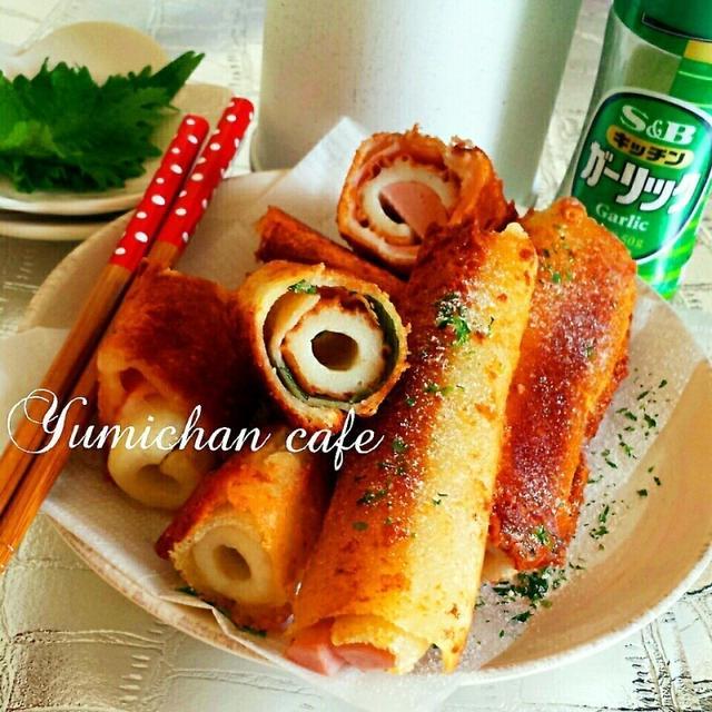 ♡サンドイッチ用のパンdeチーズハム&お魚ソーセージ&竹輪クルックルッ♪揚げの作り方♡