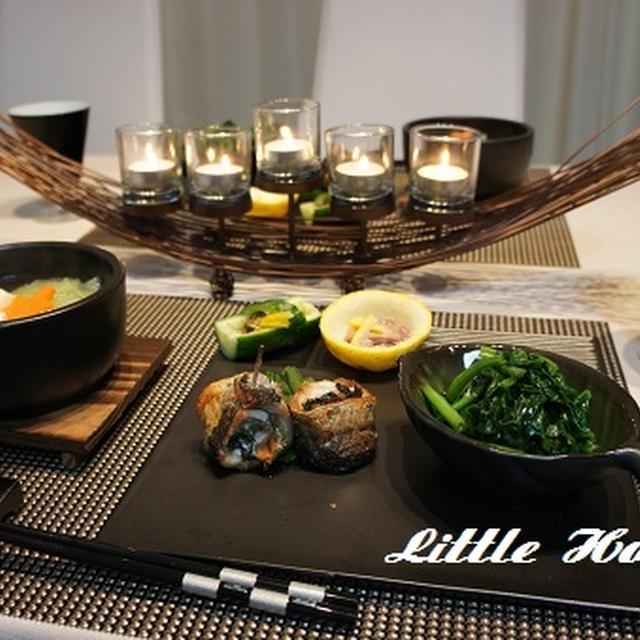 地味に湯豆腐&秋刀魚の梅巻き