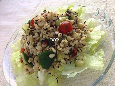 ヘルシー♪食物繊維たっぷり!押し麦とひじきのポン酢サラダ