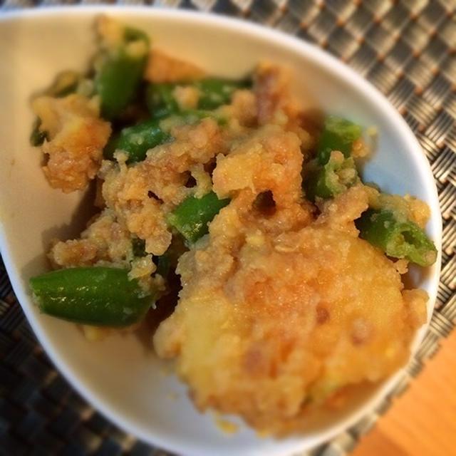 常備菜にオススメ!インゲンとジャガイモの肉味噌バター炒め煮!3人家族食費1万9千円台のごはん。