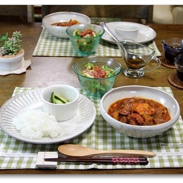 トマトえびカレー&水菜のカリカリサラダ  多肉ちゃん