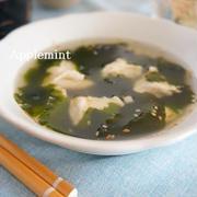 かにすりみと生姜をちょいたしわかめスープと漬けまぐろ丼定食