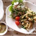 梅と大葉で和風パスタ♡たらば蟹トッピング 簡単プレートランチ&アボカド豆乳スープ by MOMONAOさん
