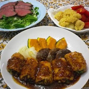 本日の夕食「豚肉のねぎ巻きマスタードソース」「カリフラワーとミニトマトのマリネカレーと柚子こしょう風味」