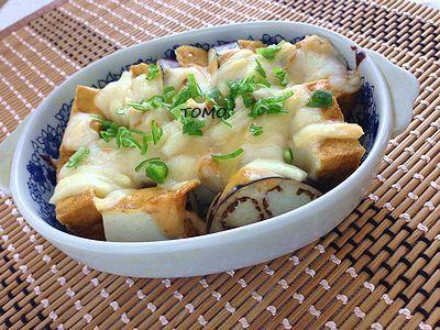 トースターで簡単♪なすと厚揚げの味噌マヨチーズ焼き
