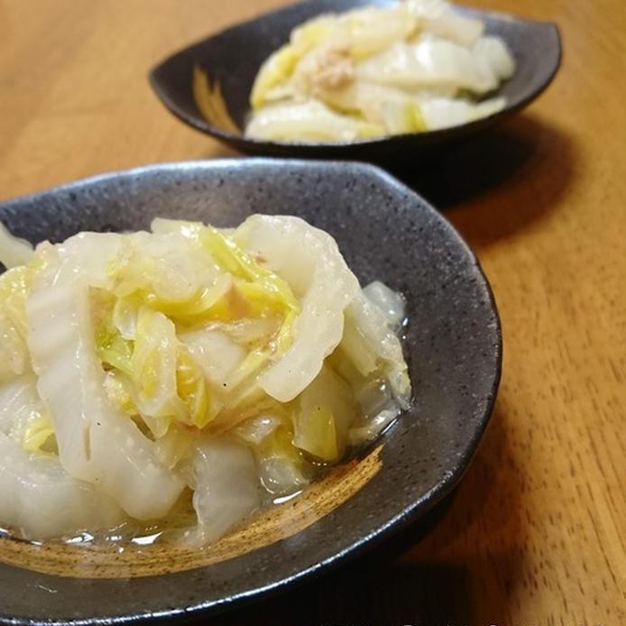 黒っぽい和風の皿に盛られた、白菜とツナの中華風あっさり煮