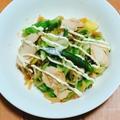 【簡単】サラダチキンで☆ピリ辛キャベツ炒め