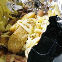 ★黒ホイルdeフライドポテトのガーリックチーズ焼★