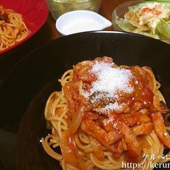 夕飯LOG 20171208 ベーコンとマッシュルームのトマトスパゲティ
