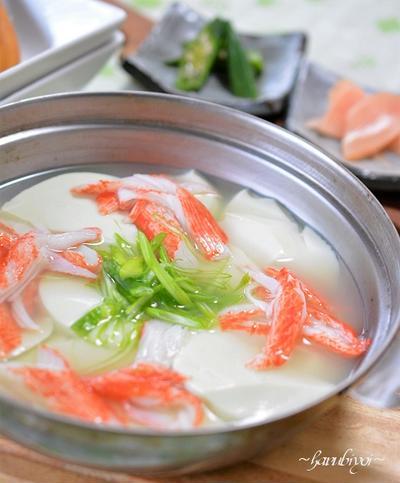 枝豆豆腐とカニカマのスープ♪冷製もおすすめ!