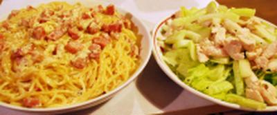 カルボナーラ+ササミとキュウリのサラダ、レモン風味