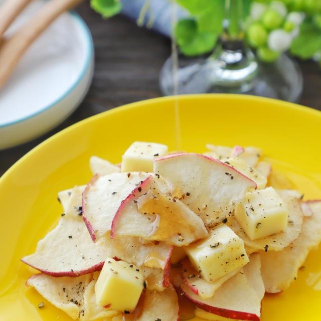 1分でお洒落おつまみ*りんごチップスとチーズのメープル和え