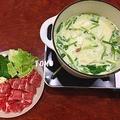 ウィンナーで出汁を取る、豚しゃぶ洋風豆乳鍋  〆はスープパスタ
