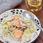 フライパンで簡単♡鮭とキャベツと舞茸の味噌クリームと毛玉とり