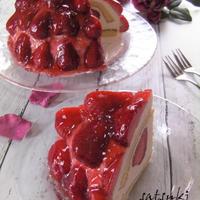 あまおうで苺のドームケーキ2回目
