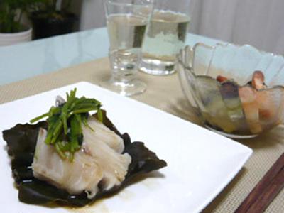 レンチン♪スピード和食~鱈の昆布蒸しと茄子と海老の柚子胡椒和え☆+゜
