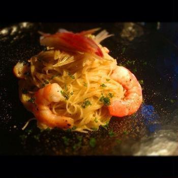焼きナスと海老の冷製カペッリーニ