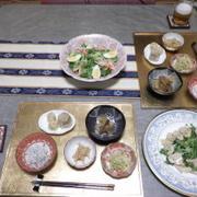 5/22の晩ごはん ラーメンサラダと鶏ハムサラダと小鉢5品で(^_-)-☆